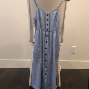 Dresses & Skirts - Blue pinstripe shirtdress dress